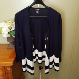 Navy & white cascade own front sweater